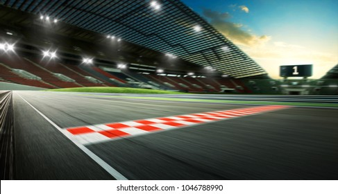 Evening scene asphalt international race track with starting or