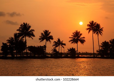 Evening scene at the backwaters of Kerala, India.