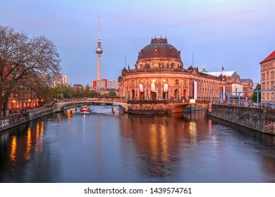Evening scene featuring the Bode Museum on the Museum Island in Berlin, Germany