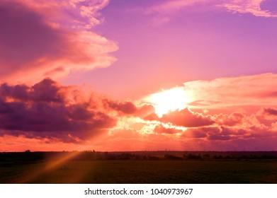 Evening Scene Fiery Cloud