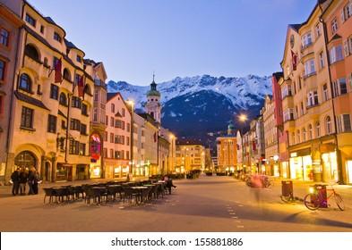 Evening scene in Innsbruck, Austria.