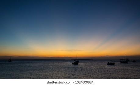 evening scene on sea after sunset