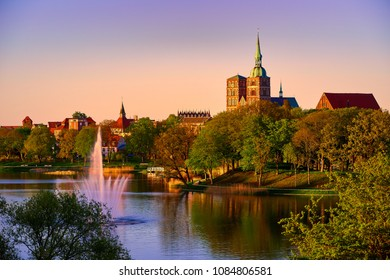 evening scene with skyline of historic Stralsund