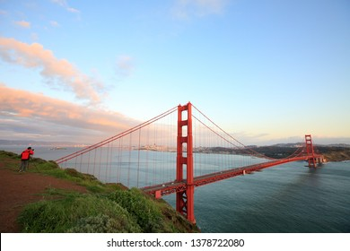Evening Scenery of the Golden Gate Bridge in San Francisco, USA