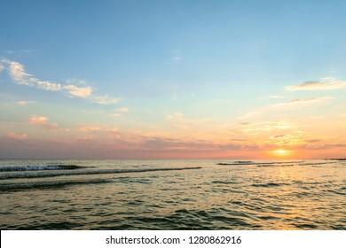 Evening sea sunset. Black sea horizon.