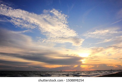 Evening sea twilight sky,Beach on the sunset
