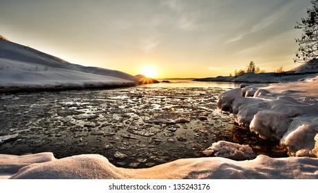 Evening seashore at winter