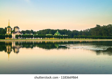 Evening serenity. Fragment of the State reserve museum Kuskovo with palace pond, former aristocratic summer country estate of the russian nobility of the 18th century. Moscow. Russia.