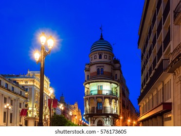 Evening Seville city cityscape, Andalusia,  Spain.