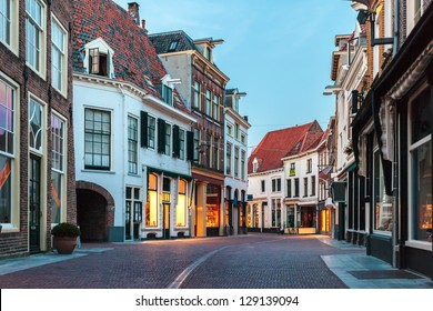 Evening in a shopping street of the Dutch ancient town Zutphen