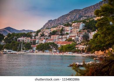 evening shot of the coastline in Brela, Makarska Riviera, Croatia