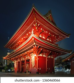 Evening shot of the Kaminarimon gate of the Sensoji Temple, also known as Asakusa Kannon Temple, in Tokyo Japan.