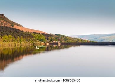An evening shot of Ladybower Reservoir taken on a spring evening, Derbyshire, England, UK