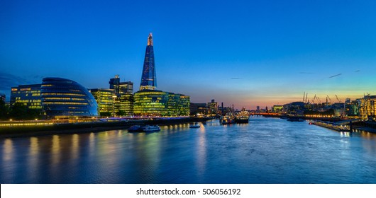 Evening shot of a London city skyline at the bank of the River Thames, HDR version