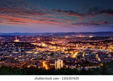 Evening shot of Stuttgart, Germany, taken from Birkenkopf view point.
