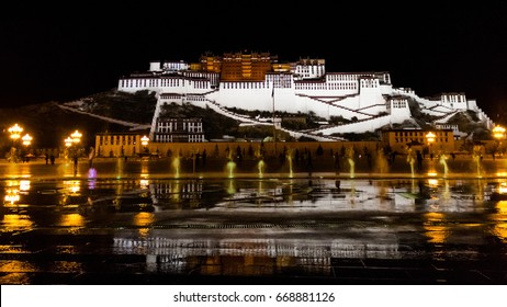 Evening show of fountains in the square in front of the Potala Palace. Lhasa, Tibet.