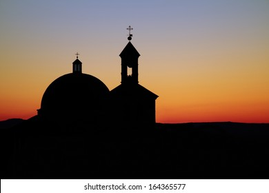 evening silhouette of a beautiful church