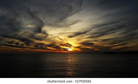 evening sky above sea, Sardinia