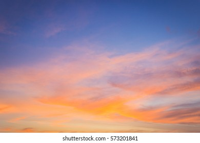 Evening sky and amazing cloud on twilight time,colorful dramatic sky in the evening on summer,dusk sky and sunset background with majestic nature.