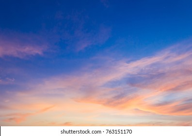 Evening Sky and Amazing Cloud on Twilight time,Colorful Dramatic Sky in the Evening on Summer,Dusk Sky Sunset,Nature Background,Majestic Nature.