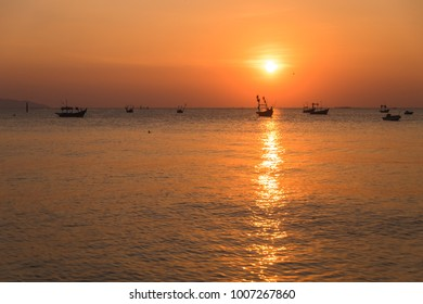 evening sky background beautiful sunset with sea. image for nature, scenery, landscape, sunshine, tropical, sightseeing, seascape concept
