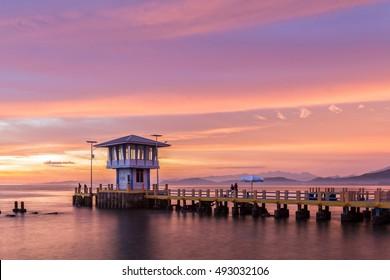 Evening sky at Carocok Beach, West Sumatera, Indonesia.