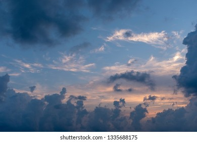 an evening sky with clouds