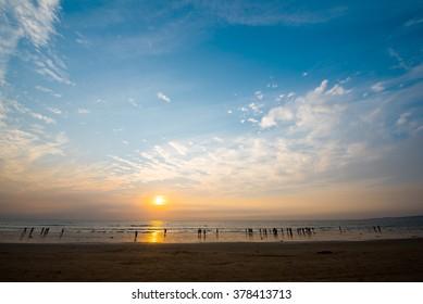 Evening sky with clouds and sun, Juhu beach, Mumbai, Bombay, Maharashtra, India, Southeast Asia.