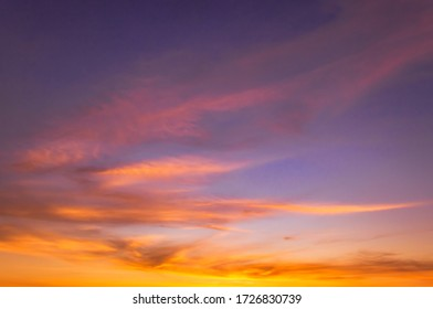 Evening sky with colorful sunlight, dusk sky