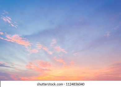 Evening sky with colorful sunset cloud and dusk  sky on twilight