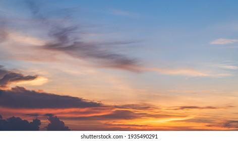 Evening Sky, Colorful Sunset Clouds Sunlight, Dusk Sky Background  - Shutterstock ID 1935490291