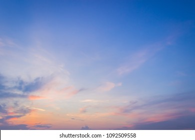 evening sky with colorful sunset on twilight,majestic dark blue sky background,dramaic sunlight and bright cloudy,idylic dusk sky cloud background,wonderful nature peaceful on spring.