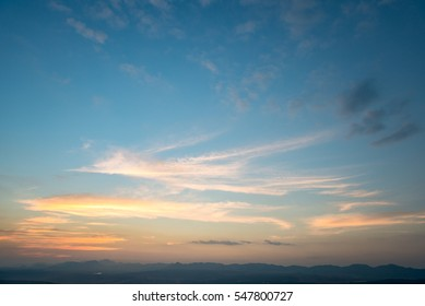 The evening sky and mountains
