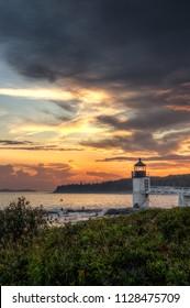 Evening Sky Over Marshall Point Lighthouse - Port Clyde, Maine, USA