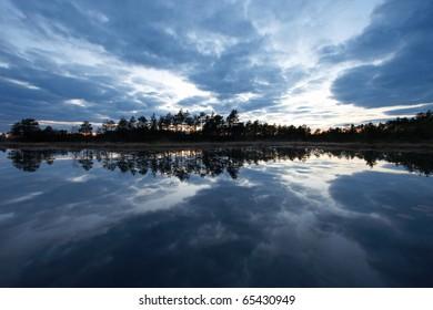 Evening Sky Reflection on a Lake