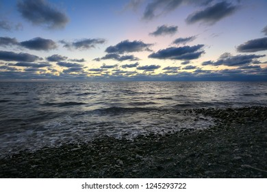 Evening sky, sea and clouds