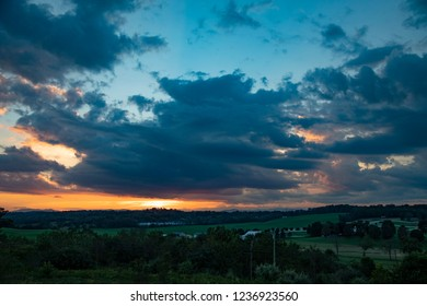 evening sky sunset colors over west virgina mountains