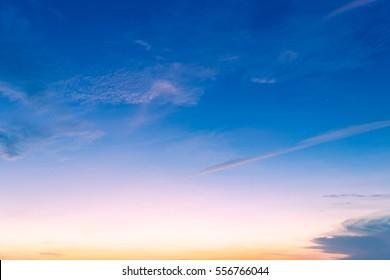 Evening Sky,Amazing colorful Idyllic dusk cloud,Dramatic and Wonderful Sunrise on twilight,Dark blue sky Nature background,Colorful Cloud on Sunset,Majestic sunlight.