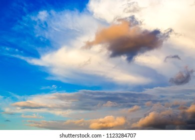 Evening Sky,Colorful Dark Blue and Amazing Dramatic Sunset sky on twilight with Storm Cloud,majestic fantastic sky nature background,idyllic sunlight on cloud fluffy
