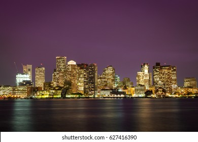 Evening skyline of Boston, Massachusetts, USA