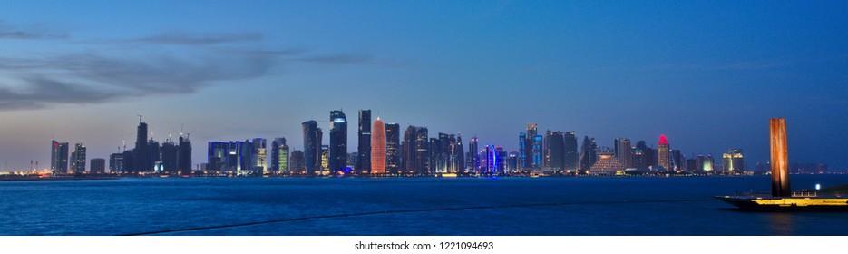Evening Skyline of Doha, Qatar.
