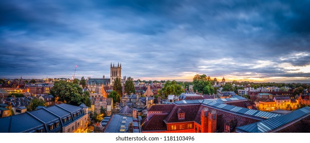 Evening skyline panorama of Cambridge city in England