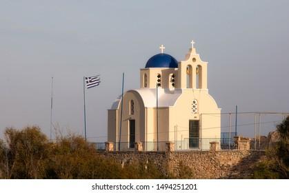 Evening at the Small Church of Saint Pagratios in Kamari, Santorini, Greece