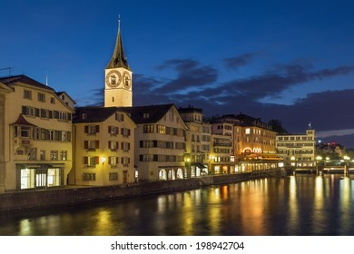 Evening. St. Peter is one of the four main churches of the old town of Zurich, Switzerland
