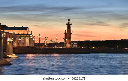 Evening St. Petersburg. Panorama of the square of the Exchange and Rostral columns