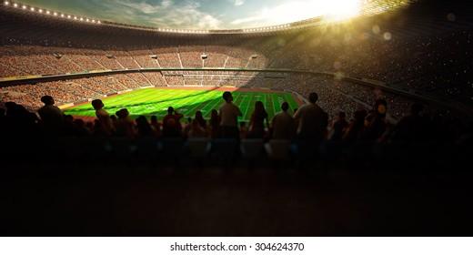 Evening stadium arena football field 3d render panorama view
