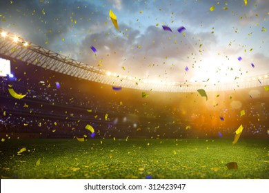 Evening stadium arena soccer field championship win! Confetti and tinsel . Yellow toning