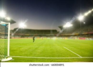 evening stadium arena soccer field defocused background
