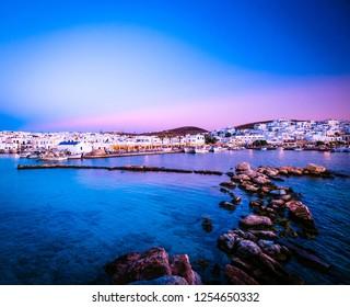 Evening stony coast scenery of greek island Paros