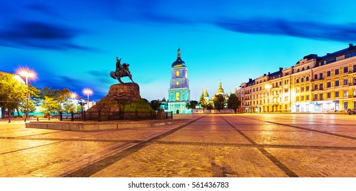 Evening summer scenery of Sofia Square with Bohdan Khmelnytsky statue monument and ancient Sofia Orthodox Cathedral Church in the Old Town of Kyiv, Ukraine